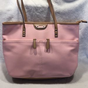 Handbags - Soft Pink Vegan Shoulder Bag Brown Trim 14x10 EUC